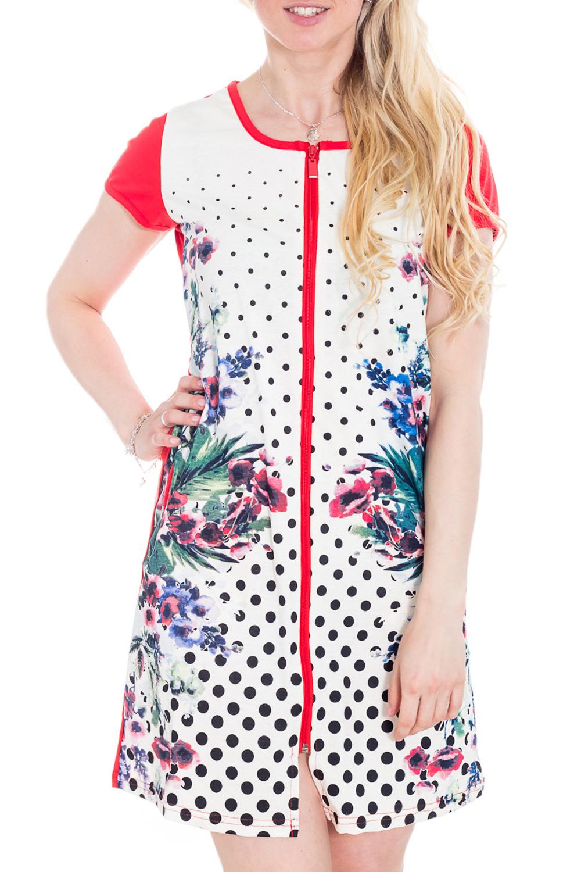 ХалатХалаты<br>Хлопковый халат на молнии. Домашняя одежда, прежде всего, должна быть удобной, практичной и красивой. В халате Вы будете чувствовать себя комфортно, особенно, по вечерам после трудового дня.  Цвет: белый, красный, черный и др.  Рост девушки-фотомодели 170 см<br><br>Горловина: С- горловина<br>По рисунку: В горошек,Цветные,Цветочные,Растительные мотивы,С принтом<br>По силуэту: Полуприталенные<br>По элементам: С молнией<br>Рукав: Короткий рукав<br>По сезону: Всесезон<br>По длине: Мини<br>По материалу: Хлопок<br>Размер : 46<br>Материал: Хлопок<br>Количество в наличии: 1