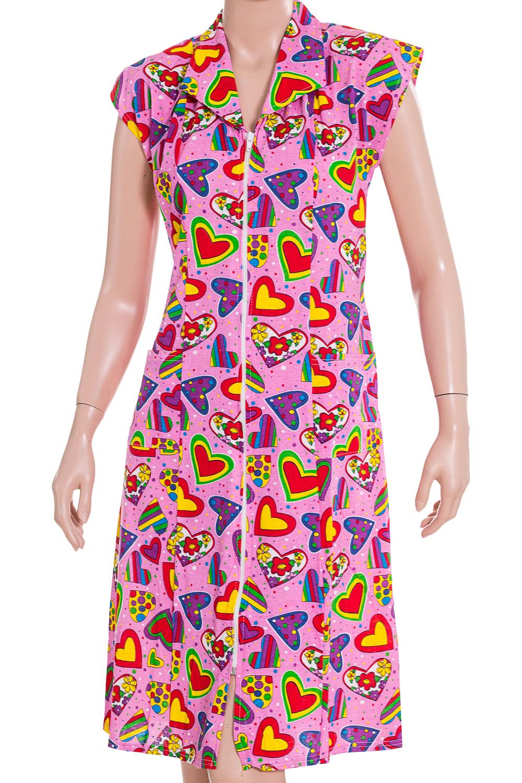 ХалатХалаты<br>Хлопковый халат с застежкой на молнию. Домашняя одежда, прежде всего, должна быть удобной, практичной и красивой. В наших изделиях Вы будете чувствовать себя комфортно, особенно, по вечерам после трудового дня.  В изделии использованы цвета: розовый и др.  Ростовка изделия 170 см.<br><br>Горловина: V- горловина<br>По рисунку: Цветные,С принтом<br>По элементам: С карманами,С молнией<br>По сезону: Всесезон<br>По длине: Ниже колена<br>Рукав: Без рукавов<br>По материалу: Хлопок<br>Размер : 42-44,46-48<br>Материал: Хлопок<br>Количество в наличии: 2