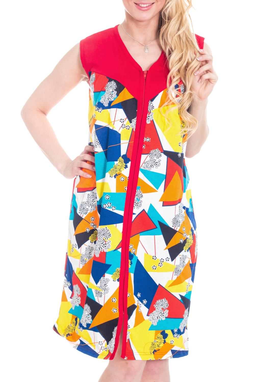 ХалатХалаты<br>Хлопковый халат на малнии. Домашняя одежда, прежде всего, должна быть удобной, практичной и красивой. В халате Вы будете чувствовать себя комфортно, особенно, по вечерам после трудового дня.  Цвет: красный, желтый и др.  Рост девушки-фотомодели 170 см<br><br>Горловина: V- горловина<br>По рисунку: Геометрия,Цветные,С принтом<br>По силуэту: Полуприталенные<br>По элементам: С молнией<br>По сезону: Всесезон<br>Рукав: Без рукавов<br>По длине: До колена<br>По материалу: Трикотаж,Хлопок<br>Размер : 44,46<br>Материал: Трикотаж<br>Количество в наличии: 3