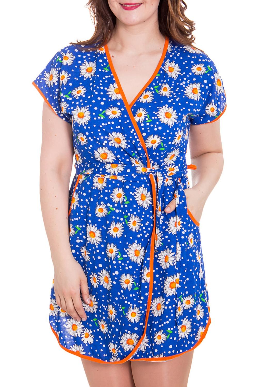 ХалатХалаты<br>Хлопковый халат на quot;запахquot; с короткими рукавами. Домашняя одежда, прежде всего, должна быть удобной, практичной и красивой. В халате Вы будете чувствовать себя комфортно, особенно, по вечерам после трудового дня.  Цвет: синий, белый, оранжевый.  Рост девушки-фотомодели 180 см<br><br>Горловина: V- горловина,Запах<br>По рисунку: Растительные мотивы,Цветные,Цветочные,С принтом<br>По силуэту: Полуприталенные<br>По элементам: С вырезом,С декором<br>Рукав: Короткий рукав<br>По сезону: Всесезон<br>По материалу: Трикотаж,Хлопок<br>Размер : 44,46,48<br>Материал: Трикотаж<br>Количество в наличии: 3