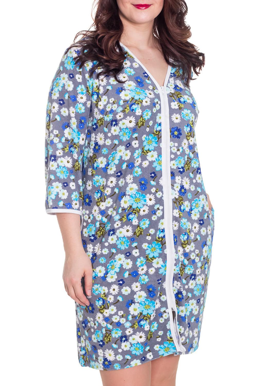 ХалатХалаты<br>Женский халат с застежкой на молнию. Домашняя одежда, прежде всего, должна быть удобной, практичной и красивой. В халате Вы будете чувствовать себя комфортно, особенно, по вечерам после трудового дня.  Цвет: серый, белый, голубой, синий  Рост девушки-фотомодели 180 см<br><br>Горловина: V- горловина<br>По материалу: Махровые,Хлопок<br>По рисунку: Растительные мотивы,Цветные,Цветочные,С принтом<br>По силуэту: Полуприталенные<br>По элементам: С карманами<br>Рукав: Рукав три четверти<br>По сезону: Осень,Весна<br>По длине: До колена<br>Размер : 46,56,60<br>Материал: Махровое полотно<br>Количество в наличии: 6