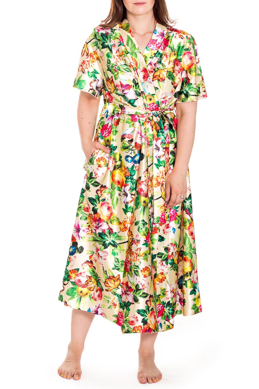 ХалатХалаты<br>Шелковый халат на запах. Домашняя одежда, прежде всего, должна быть удобной, практичной и красивой. В нашей домашней одежде Вы будете чувствовать себя комфортно, особенно, по вечерам после трудового дня. Халат без пояса.  Цвет: желтый, мультицвет  Рост девушки-фотомодели 180 см<br><br>Горловина: V- горловина,Запах<br>По материалу: Шелк<br>По рисунку: Растительные мотивы,Цветные,Цветочные,С принтом<br>По элементам: С карманами<br>Рукав: Короткий рукав<br>По сезону: Всесезон<br>По длине: Ниже колена<br>Размер : 60,62,64,66,68,70,72,74,76,78<br>Материал: Шелк<br>Количество в наличии: 10
