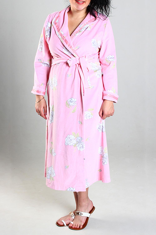 ХалатХалаты<br>Мягкий халат на поясе. Домашняя одежда, прежде всего, должна быть удобной, практичной и красивой. В наших изделиях Вы будете чувствовать себя комфортно, особенно, по вечерам после трудового дня.  Цвет: розовый.  Ростовка изделия 170 см.<br><br>Воротник: Отложной<br>Горловина: V- горловина,Запах<br>По длине: Макси,Ниже колена<br>По материалу: Велюр,Хлопок<br>По рисунку: Растительные мотивы,С принтом,Цветные,Цветочные<br>По элементам: С воротником,С вырезом,С запахом,С карманами,С поясом<br>Рукав: Длинный рукав<br>По сезону: Всесезон<br>Размер : 48,50,52,54<br>Материал: Велюр<br>Количество в наличии: 4