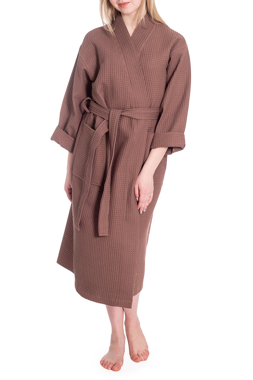 ХалатХалаты<br>Вафельный халат на запах. Домашняя одежда, прежде всего, должна быть удобной, практичной и красивой. В нашей домашней одежде Вы будете чувствовать себя комфортно, особенно, по вечерам после трудового дня. Халат без пояса.  В изделии использованы цвета: коричневый  Рост девушки-фотомодели 170 см<br><br>Горловина: V- горловина,Запах<br>По длине: Ниже колена<br>По материалу: Хлопок<br>По рисунку: Однотонные<br>По элементам: С карманами<br>Рукав: Длинный рукав<br>По сезону: Всесезон<br>Размер : 44,46-48,50-52,54-56,58<br>Материал: Вафельное полотно<br>Количество в наличии: 7
