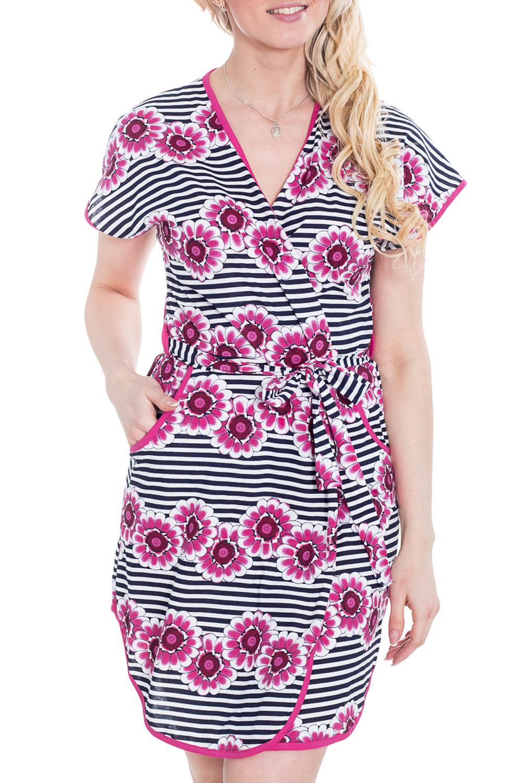 ХалатХалаты<br>Яркий хлопковый халат с запахом и короткими рукавами. Домашняя одежда, прежде всего, должна быть удобной, практичной и красивой. В халате Вы будете чувствовать себя комфортно, особенно, по вечерам после трудового дня.  Цвет: розовый, черный, белый.  Рост девушки-фотомодели - 170 см.<br><br>Горловина: V- горловина<br>По рисунку: В полоску,Цветные,Цветочные,Растительные мотивы,С принтом<br>По силуэту: Полуприталенные<br>По элементам: С запахом,С карманами<br>Рукав: Короткий рукав<br>По сезону: Всесезон<br>По материалу: Трикотаж,Хлопок<br>По длине: До колена<br>Размер : 42<br>Материал: Трикотаж<br>Количество в наличии: 2