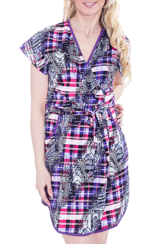 ХалатХалаты<br>Яркий хлопковый халат с запахом и короткими рукавами. Домашняя одежда, прежде всего, должна быть удобной, практичной и красивой. В халате Вы будете чувствовать себя комфортно, особенно, по вечерам после трудового дня.  Цвет: фиолетовый, розовый, черный, белый.  Рост девушки-фотомодели - 170 см.<br><br>Горловина: V- горловина,Запах<br>По рисунку: Цветные,С принтом,В клетку<br>По силуэту: Полуприталенные<br>По элементам: С запахом,С карманами<br>Рукав: Короткий рукав<br>По сезону: Всесезон<br>По материалу: Трикотаж,Хлопок<br>По длине: До колена<br>Размер : 46<br>Материал: Трикотаж<br>Количество в наличии: 1