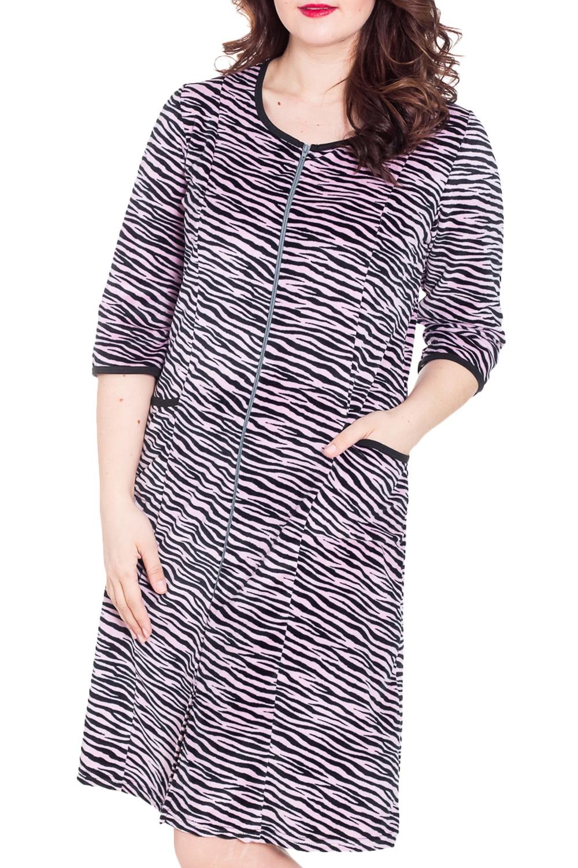 ХалатХалаты<br>Женский домашний халат с рукавами 3/4. Домашняя одежда, прежде всего, должна быть удобной, практичной и красивой. В нашей домашней одежде Вы будете чувствовать себя комфортно, особенно, по вечерам после трудового дня.  Цвет: розовый, черный.  Рост девушки-фотомодели 180 см<br><br>Горловина: С- горловина<br>По рисунку: Зебра,Цветные,С принтом<br>По элементам: С карманами,С молнией<br>Рукав: Рукав три четверти<br>По сезону: Зима<br>По длине: Ниже колена<br>По материалу: Велюр,Хлопок<br>Размер : 48,50,54<br>Материал: Велюр<br>Количество в наличии: 6
