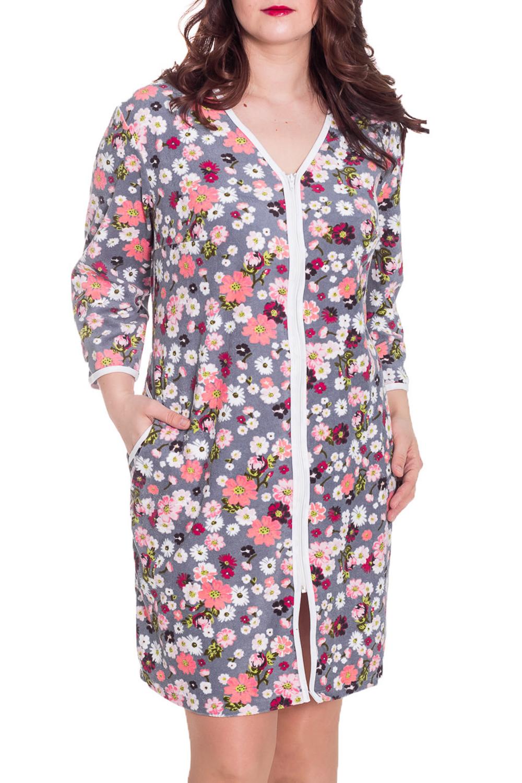 ХалатХалаты<br>Женский халат с застежкой на молнию. Домашняя одежда, прежде всего, должна быть удобной, практичной и красивой. В халате Вы будете чувствовать себя комфортно, особенно, по вечерам после трудового дня.  Цвет: серый, белый, коралловый, розовый  Рост девушки-фотомодели 180 см<br><br>Горловина: V- горловина<br>По материалу: Махровые,Хлопок<br>По рисунку: Растительные мотивы,Цветные,Цветочные,С принтом<br>По силуэту: Полуприталенные<br>По элементам: С карманами,С молнией<br>Рукав: Рукав три четверти<br>По сезону: Осень,Весна<br>По длине: До колена<br>Размер : 56,60<br>Материал: Махровое полотно<br>Количество в наличии: 2