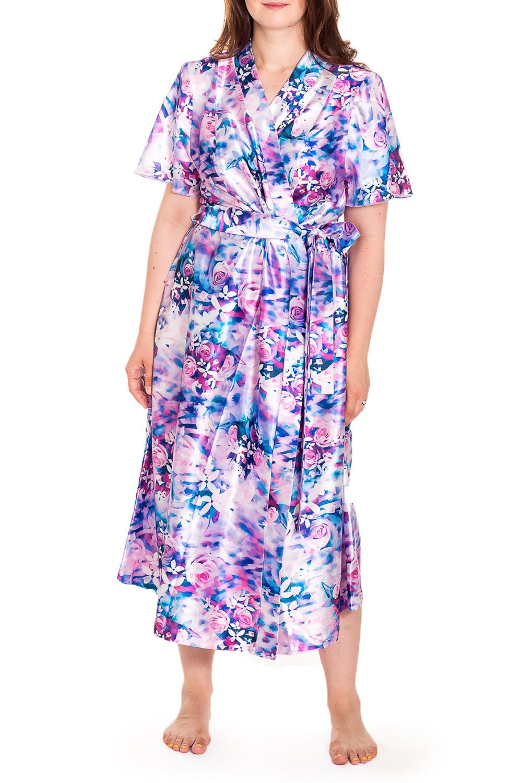 ХалатХалаты<br>Шелковый халат на запах. Домашняя одежда, прежде всего, должна быть удобной, практичной и красивой. В нашей домашней одежде Вы будете чувствовать себя комфортно, особенно, по вечерам после трудового дня. Халат без пояса.  Цвет: розовый, сиреневый, голубой  Рост девушки-фотомодели 180 см<br><br>Горловина: V- горловина,Запах<br>По материалу: Шелк<br>По рисунку: Растительные мотивы,Цветные,Цветочные,С принтом<br>По элементам: С карманами<br>Рукав: Короткий рукав<br>По сезону: Всесезон<br>По длине: Ниже колена<br>Размер : 60,62,64,66,68,72,74,76,78<br>Материал: Шелк<br>Количество в наличии: 10