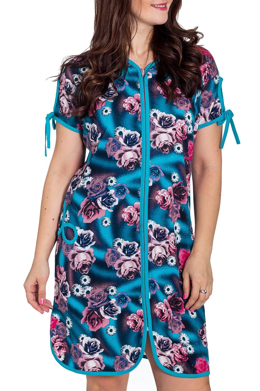 ХалатХалаты<br>Хлопковый халат с застежкой на молнию. Домашняя одежда, прежде всего, должна быть удобной, практичной и красивой. В наших изделиях Вы будете чувствовать себя комфортно, особенно, по вечерам после трудового дня.  В изделии использованы цвета: голубой, розовый и др.  Рост девушки-фотомодели 180 см.<br><br>Горловина: V- горловина<br>По длине: До колена<br>По материалу: Хлопок<br>По рисунку: Растительные мотивы,С принтом,Цветные,Цветочные<br>По силуэту: Полуприталенные<br>По элементам: С карманами<br>Рукав: Короткий рукав<br>По сезону: Всесезон<br>Размер : 52,56<br>Материал: Хлопок<br>Количество в наличии: 3