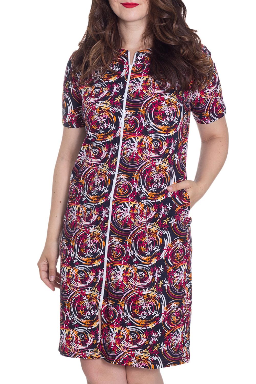 ХалатХалаты<br>Чудесный халат с круглой горловиной, застежкой на молнию и короткими рукавами. Домашняя одежда, прежде всего, должна быть удобной, практичной и красивой. В халате Вы будете чувствовать себя комфортно, особенно, по вечерам после трудового дня.  Цвет: фиолетовый, бордовый и др.  Рост девушки-фотомодели 180 см<br><br>Горловина: С- горловина<br>По рисунку: Цветные,С принтом<br>По элементам: С карманами,С молнией<br>Рукав: Короткий рукав<br>По сезону: Всесезон<br>По длине: Ниже колена<br>По материалу: Хлопок<br>Размер : 46,48<br>Материал: Хлопок<br>Количество в наличии: 3