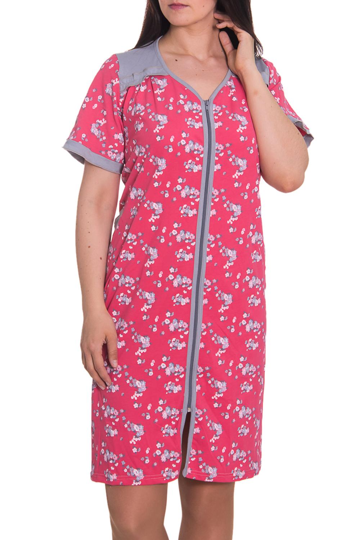 ХалатХалаты<br>Женский халат с V-образной горловиной и коротким рукавом. Модель застегивается на молнию. Домашняя одежда, прежде всего, должна быть удобной, практичной и красивой. В халате Вы будете чувствовать себя комфортно, особенно, по вечерам после трудового дня.  Цвет: серый, розовый  Рост девушки-фотомодели 180 см<br><br>Горловина: V- горловина<br>По рисунку: Растительные мотивы,Цветные,Цветочные,С принтом<br>По элементам: С молнией<br>Рукав: Короткий рукав<br>По сезону: Осень,Весна<br>По материалу: Хлопок<br>По длине: До колена<br>По силуэту: Полуприталенные<br>Размер : 52<br>Материал: Хлопок<br>Количество в наличии: 1