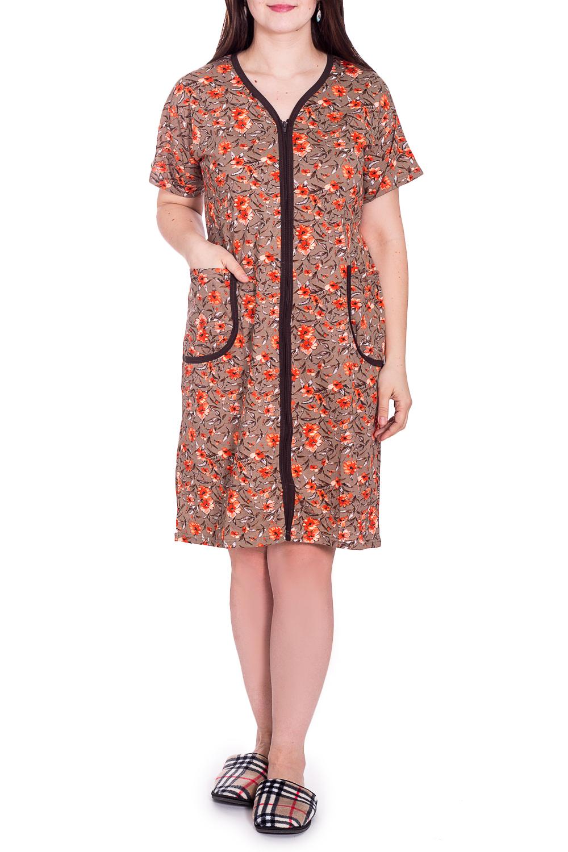 ХалатХалаты<br>Хлопковый халат с застежкой на молнию. Домашняя одежда, прежде всего, должна быть удобной, практичной и красивой. В наших изделиях Вы будете чувствовать себя комфортно, особенно, по вечерам после трудового дня.  В изделии использоованы цвета: бежевый, оранжевый и др.  Рост девушки-фотомодели 180 см.<br><br>Горловина: V- горловина<br>По длине: Ниже колена<br>По материалу: Трикотаж,Хлопок<br>По рисунку: Растительные мотивы,С принтом,Цветные,Цветочные<br>По силуэту: Полуприталенные<br>По элементам: С карманами,С молнией<br>Рукав: Короткий рукав<br>По сезону: Всесезон<br>Размер : 54,56<br>Материал: Трикотаж<br>Количество в наличии: 2