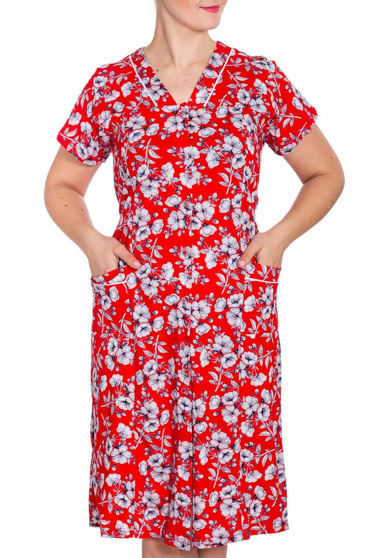 ХалатХалаты<br>Хлопковый халат с застежкой на пуговицы. Домашняя одежда, прежде всего, должна быть удобной, практичной и красивой. В наших изделиях Вы будете чувствовать себя комфортно, особенно, по вечерам после трудового дня.  Возможно незначительное отличие фурнитуры.  В изделии использованы цвета: красный, серый и др.  Рост девушки-фотомодели 180 см.<br><br>Горловина: V- горловина<br>По длине: До колена<br>По материалу: Хлопок<br>По рисунку: Растительные мотивы,С принтом,Цветные,Цветочные<br>По силуэту: Полуприталенные<br>По элементам: С карманами,С пуговицами<br>Рукав: Короткий рукав<br>По сезону: Всесезон<br>Размер : 60<br>Материал: Трикотаж<br>Количество в наличии: 1