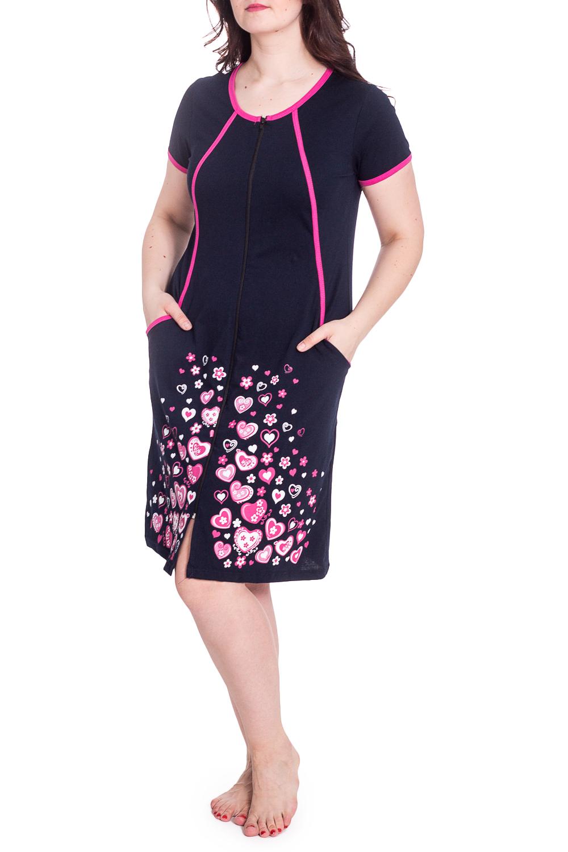 ХалатХалаты<br>Трикотажный халат с застежкой на молнию. Домашняя одежда, прежде всего, должна быть удобной, практичной и красивой. В нашей домашней одежде Вы будете чувствовать себя комфортно, особенно, по вечерам после трудового дня.  В изделии использованы цвета: темно-синий, розовый и др.  Рост девушки-фотомодели 180 см<br><br>Горловина: С- горловина<br>По длине: До колена<br>По материалу: Трикотаж,Хлопок<br>По рисунку: С принтом,Цветные<br>По элементам: С карманами,С молнией<br>Рукав: Короткий рукав<br>По сезону: Всесезон<br>Размер : 56,58,60<br>Материал: Трикотаж<br>Количество в наличии: 3