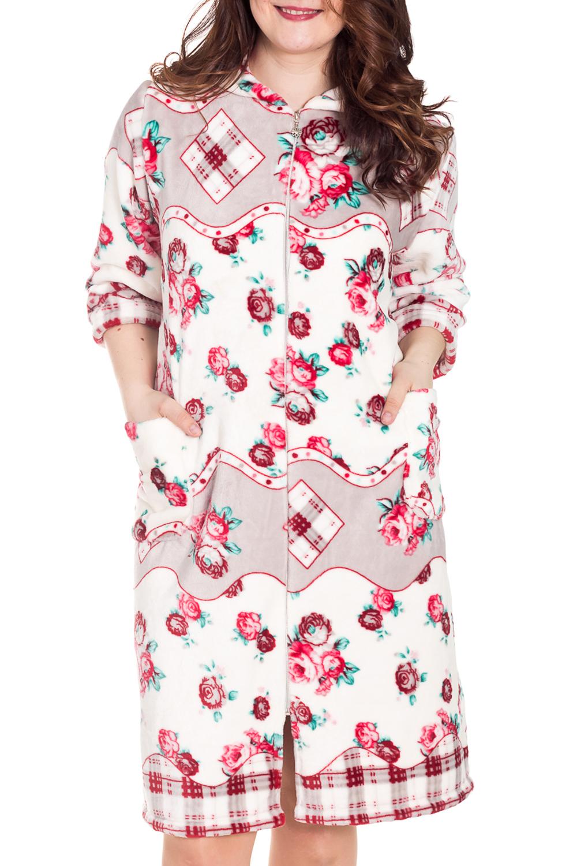 ХалатХалаты<br>Женский халат с застежкой на молнию. Домашняя одежда, прежде всего, должна быть удобной, практичной и красивой. В халате Вы будете чувствовать себя комфортно, особенно, по вечерам после трудового дня.  Цвет: белый, розовый, серо-бежевый  Рост девушки-фотомодели 180 см<br><br>По материалу: Велсофт<br>По рисунку: Растительные мотивы,Цветные,Цветочные,С принтом<br>По элементам: С капюшоном,С карманами<br>Рукав: Рукав три четверти<br>По сезону: Осень,Весна<br>По длине: Ниже колена<br>Размер : 52,54,58<br>Материал: Велсофт<br>Количество в наличии: 3