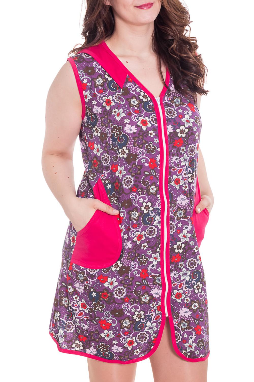 ХалатХалаты<br>Хлопковый халат с застежкой на молнию. Домашняя одежда, прежде всего, должна быть удобной, практичной и красивой. В халате Вы будете чувствовать себя комфортно, особенно, по вечерам после трудового дня.  Цвет: фиолетовый, розовый и др.  Рост девушки-фотомодели 180 см<br><br>Горловина: V- горловина<br>По длине: Мини<br>По рисунку: Растительные мотивы,Цветные,Цветочные,С принтом<br>По силуэту: Полуприталенные<br>По элементам: С карманами,С молнией<br>По сезону: Всесезон<br>Рукав: Без рукавов<br>По материалу: Трикотаж,Хлопок<br>Размер : 46-48<br>Материал: Хлопок<br>Количество в наличии: 1