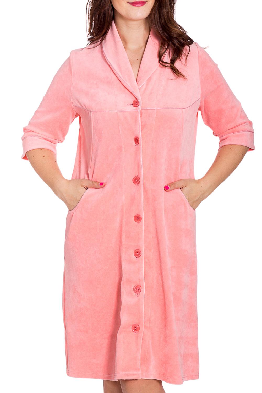 ХалатХалаты<br>Мягкий велюровый халат с застежкой на пуговицы. Домашняя одежда, прежде всего, должна быть удобной, практичной и красивой. В наших изделиях Вы будете чувствовать себя комфортно, особенно, по вечерам после трудового дня.  В изделии использованы цвета: розовый  Рост девушки-фотомодели 180 см.<br><br>Воротник: Шалька<br>По длине: До колена<br>По материалу: Велюр<br>По рисунку: Однотонные<br>По силуэту: Полуприталенные<br>По элементам: С карманами,С пуговицами<br>Рукав: Рукав три четверти<br>По сезону: Всесезон<br>Размер : 52,54<br>Материал: Велюр<br>Количество в наличии: 2