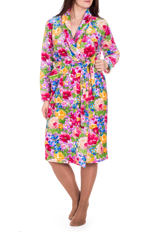 ХалатХалаты<br>Мягкий халат на запах с длинными рукавами. Домашняя одежда, прежде всего, должна быть удобной, практичной и красивой. В халате Вы будете чувствовать себя комфортно, особенно, по вечерам после трудового дня. Халат без пояса.  В изделии использованы цвета: розовый, сиреневый, желтый и др.  Рост девушки-фотомодели 180 см.<br><br>Воротник: Шалька<br>Горловина: V- горловина<br>По длине: Ниже колена<br>По рисунку: Растительные мотивы,С принтом,Цветные,Цветочные<br>По силуэту: Полуприталенные<br>По элементам: С карманами<br>Рукав: Длинный рукав<br>По сезону: Всесезон<br>Размер : 50,52,54<br>Материал: Велсофт<br>Количество в наличии: 3