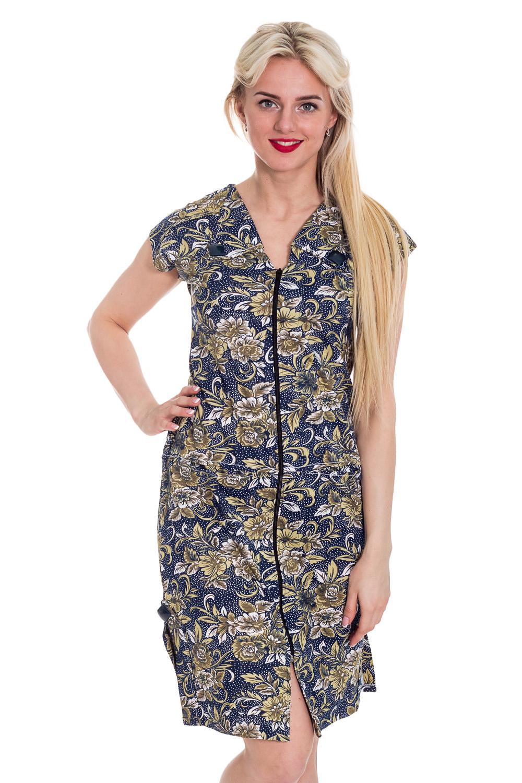 ХалатХалаты<br>Хлопковый халат с короткими рукавами. Домашняя одежда, прежде всего, должна быть удобной, практичной и красивой. В халате Вы будете чувствовать себя комфортно, особенно, по вечерам после трудового дня.  Цвет: синий, желтый  Рост девушки-фотомодели 170 см<br><br>Горловина: V- горловина<br>По длине: Удлиненные<br>По материалу: Трикотажные,Хлопковые<br>По рисунку: Цветные,Растительные мотивы,С принтом<br>По стилю: Повседневные<br>По элементам: С молнией<br>Рукав: Короткий рукав<br>По сезону: Всесезон<br>Размер : 44<br>Материал: Трикотаж<br>Количество в наличии: 1