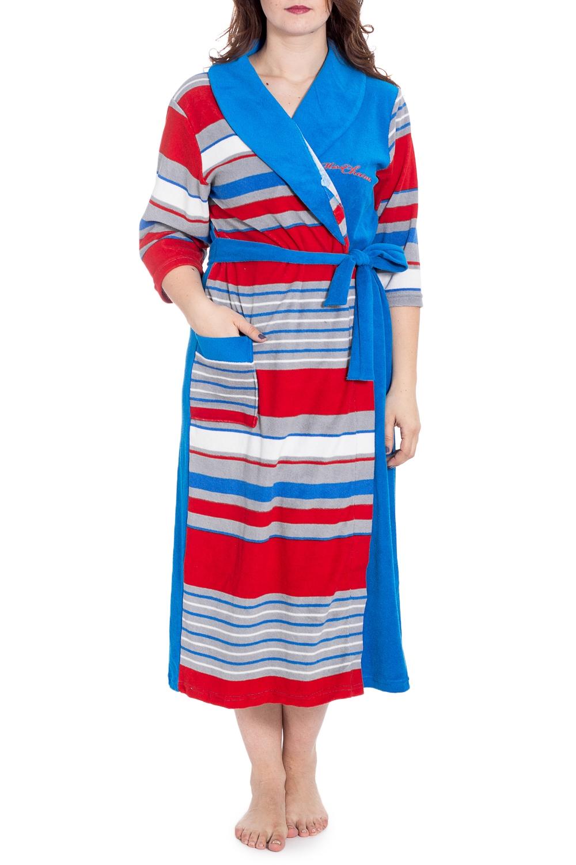 ХалатХалаты<br>Махровый халат на запах. Домашняя одежда, прежде всего, должна быть удобной, практичной и красивой. В наших изделиях Вы будете чувствовать себя комфортно, особенно, по вечерам после трудового дня. Халат без пояса.  В изделии использованы цвета: синий, красный, серый и др.  Рост девушки-фотомодели 180 см<br><br>Горловина: V- горловина,Запах<br>По длине: Ниже колена<br>По материалу: Махровые<br>По рисунку: В полоску,С принтом,Цветные<br>Рукав: Длинный рукав<br>По элементам: С карманами<br>По сезону: Всесезон<br>Размер : 54<br>Материал: Махровое полотно<br>Количество в наличии: 1