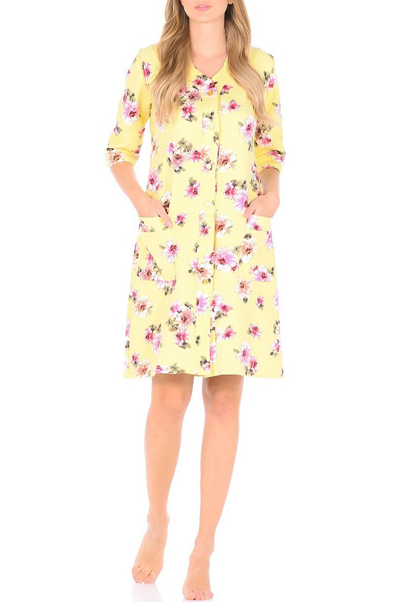 ХалатХалаты<br>Хлопковый халат с застежкой на пуговицы. Домашняя одежда, прежде всего, должна быть удобной, практичной и красивой. В наших изделиях Вы будете чувствовать себя комфортно, особенно, по вечерам после трудового дня.  В изделии использованы цвета: желтый, розовый и др.  Ростовка изделия 170 см.<br><br>Воротник: Отложной<br>Горловина: V- горловина<br>По длине: До колена<br>По материалу: Трикотаж,Хлопок<br>По рисунку: Растительные мотивы,С принтом,Цветные,Цветочные<br>По силуэту: Полуприталенные<br>По элементам: С карманами<br>Рукав: Рукав три четверти<br>По сезону: Всесезон<br>Размер : 44,46,48,50,52,54<br>Материал: Трикотаж<br>Количество в наличии: 11