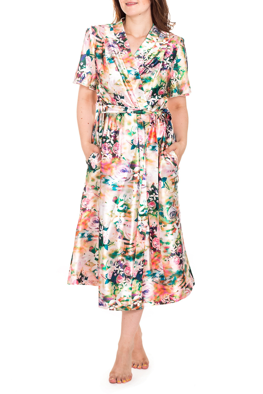 ХалатХалаты<br>Шелковый халат на запах. Домашняя одежда, прежде всего, должна быть удобной, практичной и красивой. В нашей домашней одежде Вы будете чувствовать себя комфортно, особенно, по вечерам после трудового дня. Халат без пояса.  Цвет: бежевый и др.  Рост девушки-фотомодели 180 см<br><br>Горловина: V- горловина,Запах<br>По материалу: Шелк<br>По рисунку: Растительные мотивы,Цветные,Цветочные,С принтом<br>По силуэту: Полуприталенные<br>По элементам: С карманами<br>Рукав: Короткий рукав<br>По сезону: Всесезон<br>По длине: Ниже колена<br>Размер : 66,70,72,74,76,78<br>Материал: Шелк<br>Количество в наличии: 8