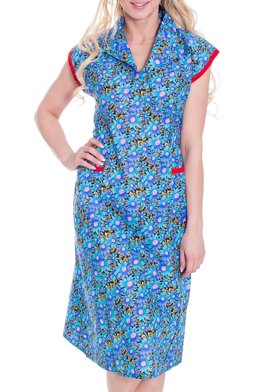 ПлатьеПлатья<br>Домашнее платье с короткими рукавами. Домашняя одежда, прежде всего, должна быть удобной, практичной и красивой. В платье Вы будете чувствовать себя комфортно, особенно, по вечерам после трудового дня.  Цвет: голубой, желтый, сиреневый, розовый  Рост девушки-фотомодели 170 см.<br><br>Горловина: V- горловина<br>По рисунку: Растительные мотивы,Цветные,Цветочные,С принтом<br>По сезону: Весна,Осень<br>По силуэту: Полуприталенные<br>По форме: Платья<br>По элементам: С карманами<br>Рукав: Короткий рукав<br>По длине: До колена<br>По материалу: Хлопок<br>Размер : 42-44<br>Материал: Бязь<br>Количество в наличии: 5