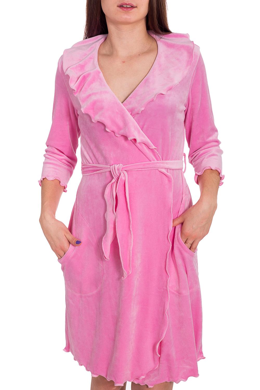 ХалатХалаты<br>Уютный халат из мягкого велюра. Домашняя одежда, прежде всего, должна быть удобной, практичной и красивой. В наших изделиях Вы будете чувствовать себя комфортно, особенно, по вечерам после трудового дня. Халат без пояса.  Цвет: розовый  Рост девушки-фотомодели 173 см<br><br>Воротник: Отложной<br>Горловина: V- горловина,Запах<br>По длине: До колена<br>По материалу: Велюр<br>По рисунку: Однотонные<br>По силуэту: Полуприталенные<br>По элементам: С воланами и рюшами,С карманами<br>Рукав: Рукав три четверти<br>По сезону: Всесезон<br>Размер : 44,54<br>Материал: Велюр<br>Количество в наличии: 3