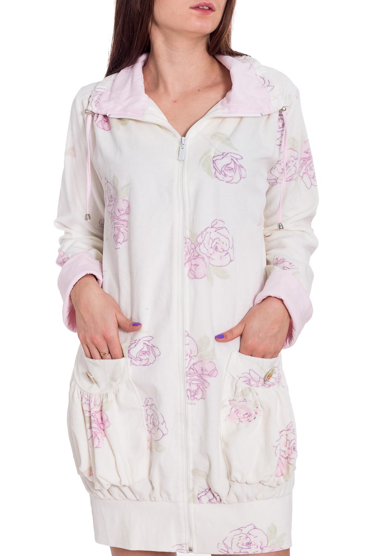 ХалатХалаты<br>Мягкий халат с застежкой молния. Домашняя одежда, прежде всего, должна быть удобной, практичной и красивой. В наших изделиях Вы будете чувствовать себя комфортно, особенно, по вечерам после трудового дня.  В изделии использованы цвета: белый, розовый  Рост девушки-фотомодели 173 см<br><br>Воротник: Стойка<br>По длине: До колена<br>По материалу: Велюр<br>По рисунку: Растительные мотивы,С принтом,Цветные,Цветочные<br>По силуэту: Свободные<br>По элементам: С карманами<br>Рукав: Длинный рукав<br>По сезону: Всесезон<br>Размер : 46<br>Материал: Велюр<br>Количество в наличии: 1