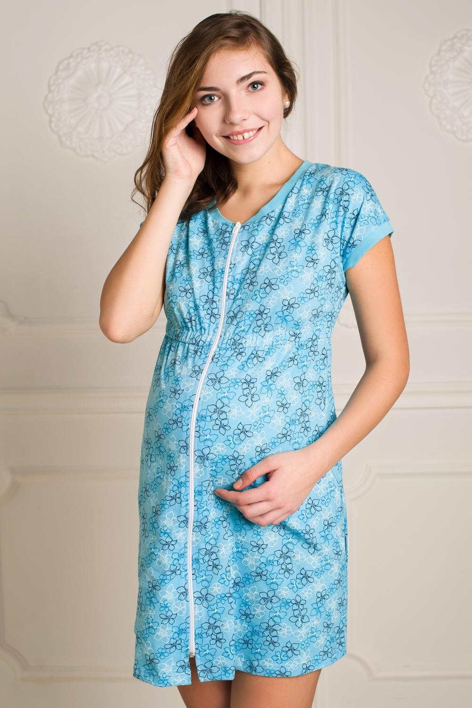 ХалатОдежда для дома<br>В халатике на молнии с завышенной линией талии и цельнокроеным рукавом, маме всегда будет тепло и комфортно. Модель выполнена из кулира.  За счет свободного кроя и эластичного материала изделие можно носить во время беременности  Цвет: голубой<br><br>По сезону: Всесезон<br>Размер : 42,44,46,48<br>Материал: Трикотаж<br>Количество в наличии: 4