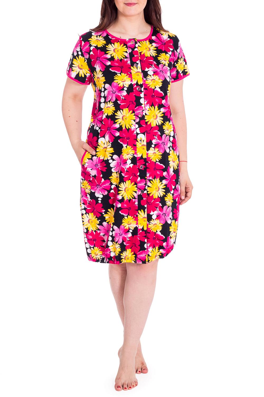 ХалатХалаты<br>Удлиненный халат с застежкой на пуговицы. Домашняя одежда, прежде всего, должна быть удобной, практичной и красивой. В наших изделиях Вы будете чувствовать себя комфортно, особенно, по вечерам после трудового дня.В изделии используются цвета: черный, розовый, желтый и др.Рост девушки-фотомодели 180 см<br><br>Горловина: С- горловина<br>Рукав: Короткий рукав<br>Материал: Хлопок<br>Рисунок: Растительные мотивы,С принтом,Цветные,Цветочные<br>Силуэт: Полуприталенные<br>Сезон: Всесезон<br>Длина: Ниже колена<br>Элементы: С карманами,С пуговицами<br>Размер : 62<br>Материал: Хлопок<br>Количество в наличии: 1
