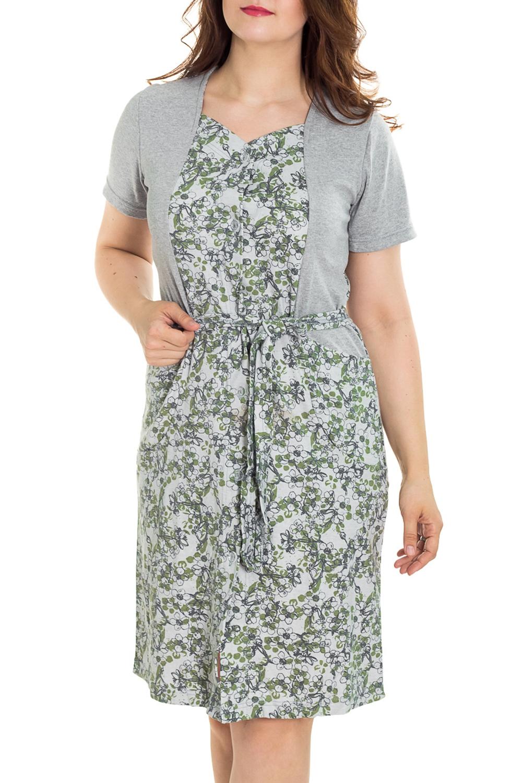 ХалатХалаты<br>Цветной халат с застежкой на пуговицы. Домашняя одежда, прежде всего, должна быть удобной, практичной и красивой. В наших изделиях Вы будете чувствовать себя комфортно, особенно, по вечерам после трудового дня. Халат без пояса.  Цвет: серый, зеленый  Рост девушки-фотомодели 180 см<br><br>Горловина: V- горловина<br>По рисунку: Цветные,С принтом<br>По силуэту: Полуприталенные<br>По элементам: С карманами<br>Рукав: Короткий рукав<br>По сезону: Всесезон<br>По длине: Ниже колена<br>По материалу: Трикотаж,Хлопок<br>Размер : 46,48,50,52,54,56<br>Материал: Трикотаж<br>Количество в наличии: 115