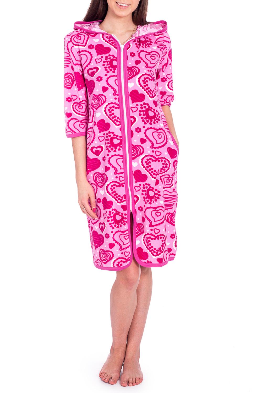 ХалатХалаты<br>Мягкий халат с застежкой на молнию и рукавами 3/4. Домашняя одежда, прежде всего, должна быть удобной, практичной и красивой. В халате Вы будете чувствовать себя комфортно, особенно, по вечерам после трудового дня.  В изделии использованы цвета: розовый, белый  Рост девушки-фотомодели 170 см.<br><br>Горловина: С- горловина<br>По длине: До колена<br>По материалу: Махровые,Хлопок<br>По рисунку: С принтом,Цветные<br>По элементам: С капюшоном,С карманами,С молнией<br>Рукав: Рукав три четверти<br>По сезону: Осень,Весна<br>Размер : 44,46<br>Материал: Махровое полотно<br>Количество в наличии: 2