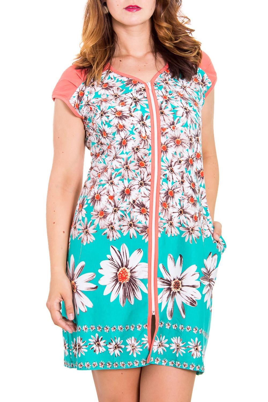 ХалатХалаты<br>Женский халат с короткими рукавами. Модель застегивается на молнию, имеет 2 кармана. Домашняя одежда, прежде всего, должна быть удобной, практичной и красивой. В халате Вы будете чувствовать себя комфортно, особенно, по вечерам после трудового дня.  Цвет: коралловый, белый, бирюзовый  Рост девушки-фотомодели 180 см<br><br>По рисунку: Растительные мотивы,Цветные,Цветочные,С принтом<br>По силуэту: Полуприталенные<br>По элементам: С карманами,С молнией,С разрезом<br>Рукав: Короткий рукав<br>По сезону: Лето<br>Горловина: V- горловина<br>По длине: Ниже колена<br>По материалу: Трикотаж,Хлопок<br>Размер : 52<br>Материал: Хлопок<br>Количество в наличии: 2