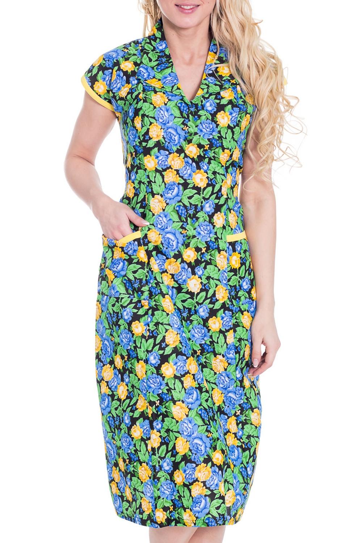 ПлатьеПлатья<br>Домашнее платье с короткими рукавами. Домашняя одежда, прежде всего, должна быть удобной, практичной и красивой. В платье Вы будете чувствовать себя комфортно, особенно, по вечерам после трудового дня.  Цвет: зеленый, голубой, желтый  Рост девушки-фотомодели 170 см.<br><br>Горловина: V- горловина<br>По рисунку: Растительные мотивы,Цветные,Цветочные,С принтом<br>По сезону: Весна,Осень<br>По силуэту: Полуприталенные<br>По форме: Платья<br>По элементам: С карманами<br>Рукав: Короткий рукав<br>По длине: До колена<br>По материалу: Хлопок<br>Размер : 42-44<br>Материал: Бязь<br>Количество в наличии: 2