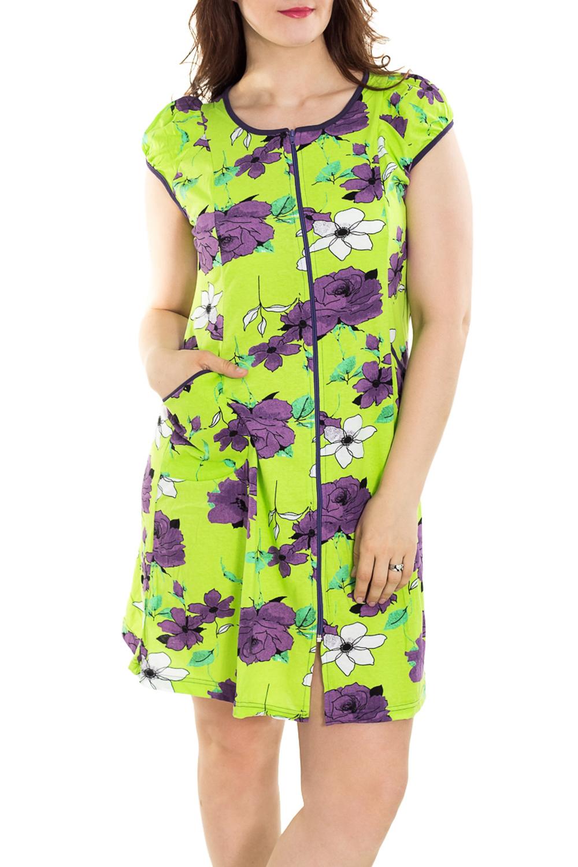ХалатХалаты<br>Цветной халат с застежкой на молнию. Домашняя одежда, прежде всего, должна быть удобной, практичной и красивой. В наших изделиях Вы будете чувствовать себя комфортно, особенно, по вечерам после трудового дня. Халат без пояса.  Цвет: салатовый, фиолетовый  Рост девушки-фотомодели 180 см<br><br>Горловина: С- горловина<br>По рисунку: Растительные мотивы,Цветные,Цветочные,С принтом<br>По силуэту: Полуприталенные<br>По элементам: С карманами,С молнией<br>Рукав: Короткий рукав<br>По сезону: Всесезон<br>По материалу: Трикотаж,Хлопок<br>По длине: До колена<br>Размер : 46,48,50,56<br>Материал: Трикотаж<br>Количество в наличии: 25