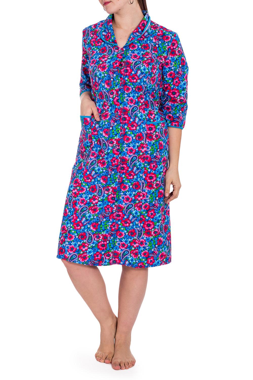 ХалатХалаты<br>Хлопковый халат с застежкой на пуговицу. Домашняя одежда, прежде всего, должна быть удобной, практичной и красивой. В наших изделиях Вы будете чувствовать себя комфортно, особенно, по вечерам после трудового дня.  В изделии использованы цвета: голубой, розовый и др.  Рост девушки-фотомодели 180 см.<br><br>Воротник: Отложной<br>По длине: До колена<br>По материалу: Хлопок<br>По рисунку: Растительные мотивы,С принтом,Цветные,Цветочные<br>По силуэту: Полуприталенные<br>По элементам: С карманами<br>Рукав: Рукав три четверти<br>По сезону: Всесезон<br>Размер : 52,58<br>Материал: Хлопок<br>Количество в наличии: 2