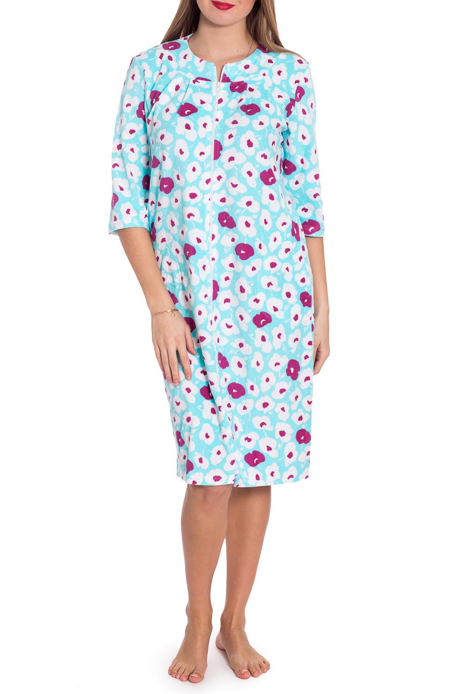ХалатХалаты<br>Чудесный халат с застежкой на молнию. Домашняя одежда, прежде всего, должна быть удобной, практичной и красивой. В халате Вы будете чувствовать себя комфортно, особенно, по вечерам после трудового дня.  В изделии использованы цвета: голубой, белый, фиолетовый  Рост девушки-фотомодели 170 см<br><br>Горловина: С- горловина<br>По длине: До колена<br>По материалу: Велсофт,Хлопок<br>По рисунку: Растительные мотивы,С принтом,Цветные,Цветочные<br>По силуэту: Полуприталенные<br>По элементам: С молнией<br>Рукав: Рукав три четверти<br>По сезону: Всесезон<br>Размер : 44,46,48,50,52,54<br>Материал: Велсофт<br>Количество в наличии: 16