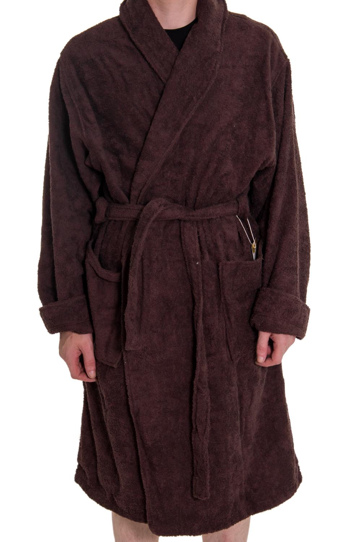 ХалатХалаты<br>Мягкий махровый халат из натурального хлопка. На спинке изделия надпись quot;Умный мужquot;. Такой халат станет прекрасным подарком для каждого мужчины.  Пояс в комплекте. Цвет: коричневый.<br><br>Размер : 60<br>Материал: Махровое полотно<br>Количество в наличии: 1