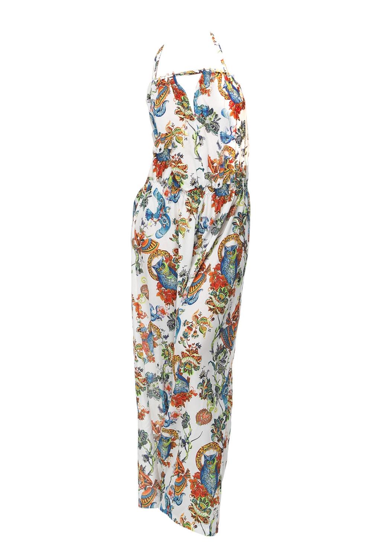 КомбинезонКомбинезоны<br>Комбинезон летний, из легкой смесовой ткани с арт-принтом; с широкими свободного кроя брюками; верх переда оформлен люверсами; объем горловины регулируется завязками; верх спинки оформлен многорядными резинками; посадка свободная  В изделии использованы цвета: белый, оранжевый, зеленый и др.  Числовые параметры для 44-46 размера: длина изделия - 136 см обхват груди - 116 см.;  обхват талии - 122 см.  Ростовка изделия 170 см.<br><br>Бретели: Тонкие бретели<br>По длине: Макси<br>По материалу: Шелк<br>По рисунку: С принтом,Цветные<br>По силуэту: Полуприталенные<br>По стилю: Летний стиль,Повседневный стиль<br>По элементам: С открытой спиной,С открытыми плечами<br>Рукав: Без рукавов<br>По сезону: Лето<br>Размер : 44-46,48-50<br>Материал: Шелк<br>Количество в наличии: 6