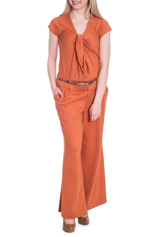 КомбинезонКомбинезоны<br>Однотонный летний комбинезон с короткими рукавами. Модель выполнена из приятного материала. Отличный выбор для любого случая. Комбинезон без пояса.  В изделии использованы цвета: оранжевый  Рост девушки-фотомодели 170 см.<br><br>Горловина: V- горловина<br>По длине: Макси<br>По материалу: Трикотаж<br>По рисунку: Однотонные<br>По силуэту: Полуприталенные<br>По стилю: Летний стиль,Повседневный стиль<br>По элементам: С декором,С карманами<br>Рукав: Короткий рукав<br>По сезону: Лето<br>Размер : 42,46,48<br>Материал: Трикотаж<br>Количество в наличии: 3