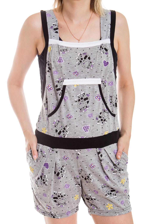 КомбинезонКомплекты и костюмы<br>Очаровательный женский комбинезон. Домашняя одежда, прежде всего, должна быть удобной, практичной и красивой. В комбинезоне Вы будете чувствовать себя комфортно, особенно, по вечерам после трудового дня.  В изделии использованы цвета: серый, фиолетовый<br><br>Бретели: Широкие бретели<br>По рисунку: Животные мотивы,Цветные,С принтом<br>По сезону: Весна,Зима,Лето,Осень,Всесезон<br>По силуэту: Полуприталенные<br>По элементам: С карманами<br>По материалу: Хлопок<br>Рукав: Без рукавов<br>Размер : 42<br>Материал: Хлопок<br>Количество в наличии: 1