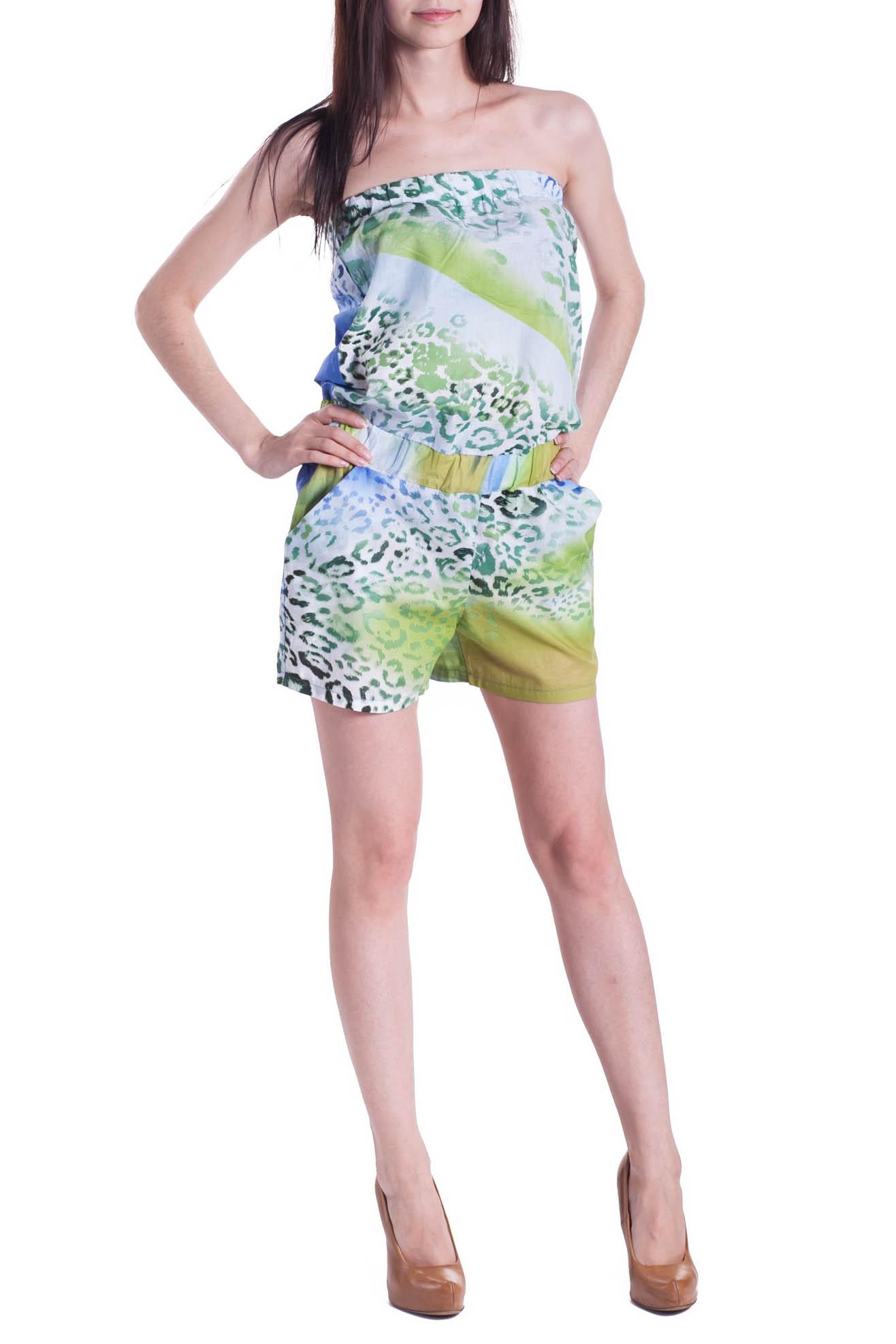КомбинезонКомбинезоны<br>Комбинезон женский с шортами. Лиф на резинке. В талии вставлена широкая резинка и декоративные завязки. В боках карманы.  Длина изделия: 42 размер - 58 см 44 размер - 60 см 46 размер - 62 см 48 размер - 64 см<br><br>По длине: Мини<br>По рисунку: Леопард,С принтом<br>По сезону: Лето<br>По элементам: С карманами<br>По материалу: Хлопок<br>По стилю: Летний стиль,Молодежный стиль,Повседневный стиль<br>Рукав: Без рукавов<br>По силуэту: Полуприталенные<br>Размер : 42,44<br>Материал: Хлопок<br>Количество в наличии: 2