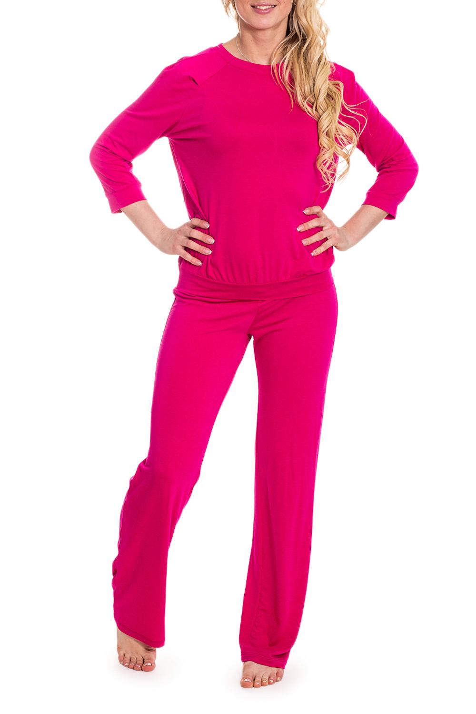 КомплектКомплекты и костюмы<br>Домашний комплект состоит из брюк и джемпера. Домашняя одежда, прежде всего, должна быть удобной, практичной и красивой. В наших изделиях Вы будете чувствовать себя комфортно, особенно, по вечерам после трудового дня.  Цвет: ярко-розовый  Рост девушки-фотомодели 170 см<br><br>Горловина: С- горловина<br>По длине: Макси<br>По материалу: Вискоза,Трикотаж<br>По рисунку: Однотонные<br>По сезону: Весна,Осень,Зима<br>По силуэту: Свободные<br>По форме: Брючные,Костюм двойка<br>Рукав: Рукав три четверти<br>По элементам: С манжетами<br>Размер : 42,44,46,48,52<br>Материал: Трикотаж<br>Количество в наличии: 5