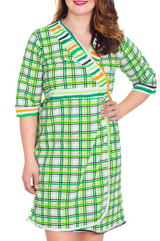 КомплектКомплекты и костюмы<br>Хлопковый комплект состоит из халатика и сорочки. Домашняя одежда, прежде всего, должна быть удобной, практичной и красивой. В комплекте Вы будете чувствовать себя комфортно, особенно, по вечерам после трудового дня.  Цвет: зеленый, белый, желтый, оранжевый  Рост девушки-фотомодели 180 см<br><br>По рисунку: Цветные,В клетку,С принтом<br>По сезону: Весна,Осень,Всесезон,Зима,Лето<br>По силуэту: Полуприталенные<br>По форме: Костюм двойка,Брючный костюм<br>Рукав: Рукав три четверти<br>По материалу: Хлопок<br>Горловина: V- горловина,Запах<br>По длине: До колена<br>По элементам: С карманами<br>Размер : 44,46,48,54<br>Материал: Хлопок<br>Количество в наличии: 4