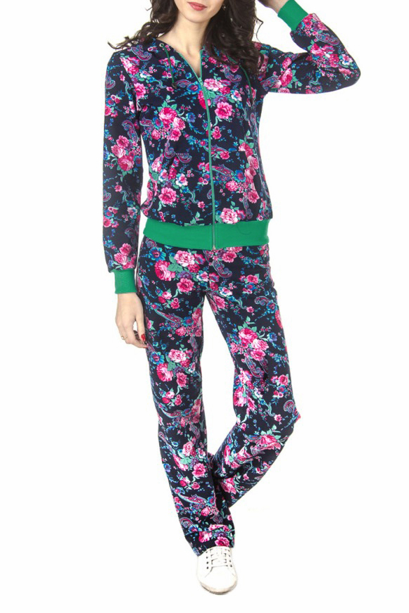 КостюмСпортивные костюмы<br>Спортивный костюм из эластичного трикотажа. Отличный выбор для занятий спортом или активного отдыха  Цвет: синий, розовый, голубой, зеленый  Рост девушки-фотомодели 180 см.<br><br>По длине: Макси<br>По рисунку: Растительные мотивы,Цветные,Цветочные,С принтом<br>По сезону: Весна,Осень<br>По силуэту: Полуприталенные<br>По форме: Костюм двойка,Спортивные брюки<br>По элементам: С капюшоном,С карманами,С манжетами<br>Рукав: Длинный рукав<br>По стилю: Спортивный стиль,Молодежный стиль,Повседневный стиль<br>Застежка: С молнией<br>По материалу: Трикотаж,Хлопок<br>Размер : 44,46,48,50,52,54,56,58<br>Материал: Трикотаж<br>Количество в наличии: 11