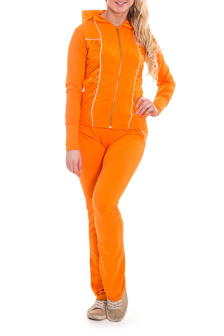 КостюмСпортивные костюмы<br>Женский спортивный костюм из эластичного трикотажа. Отличный выбор для активного отдыха.  Цвет: оранжевый.  Рост девушки-фотомодели 170 см<br><br>Застежка: С молнией<br>По длине: Макси<br>По материалу: Трикотаж,Хлопок<br>По образу: Город,Спорт<br>По рисунку: Неоновые,Однотонные<br>По сезону: Весна,Зима,Лето,Осень,Всесезон<br>По силуэту: Приталенные<br>По стилю: Повседневный стиль,Спортивный стиль<br>По форме: Костюм двойка<br>По элементам: С воротником,С декором,С капюшоном,С карманами<br>Рукав: Длинный рукав<br>Размер : 44,46<br>Материал: Хлопок<br>Количество в наличии: 1