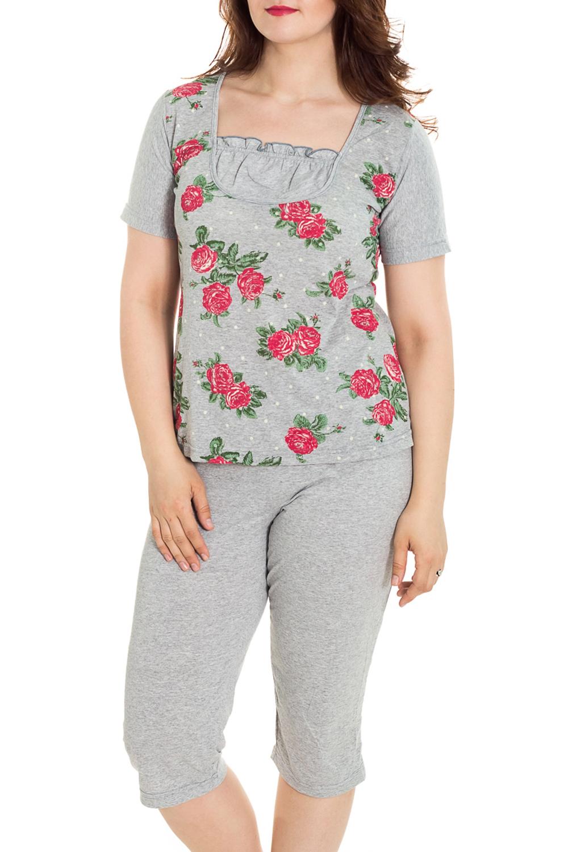 ПижамаПижамы<br>Хлопковая пижама состоит из бридж и футболки. Домашняя одежда, прежде всего, должна быть удобной, практичной и красивой. В наших изделиях Вы будете чувствовать себя комфортно, особенно, по вечерам после трудового дня.  Цвет: серый, розовый, зеленый  Рост девушки-фотомодели 180 см<br><br>Горловина: С- горловина<br>По длине: Миди<br>По материалу: Трикотажные,Хлопковые<br>По рисунку: Растительные мотивы,С принтом (печатью),Цветные,Цветочные<br>По силуэту: Полуприталенные<br>По форме: Брючные,Костюм двойка<br>Рукав: Короткий рукав<br>По сезону: Осень,Весна<br>Размер : 48,50,52,54,56,58,60,62<br>Материал: Трикотаж<br>Количество в наличии: 1