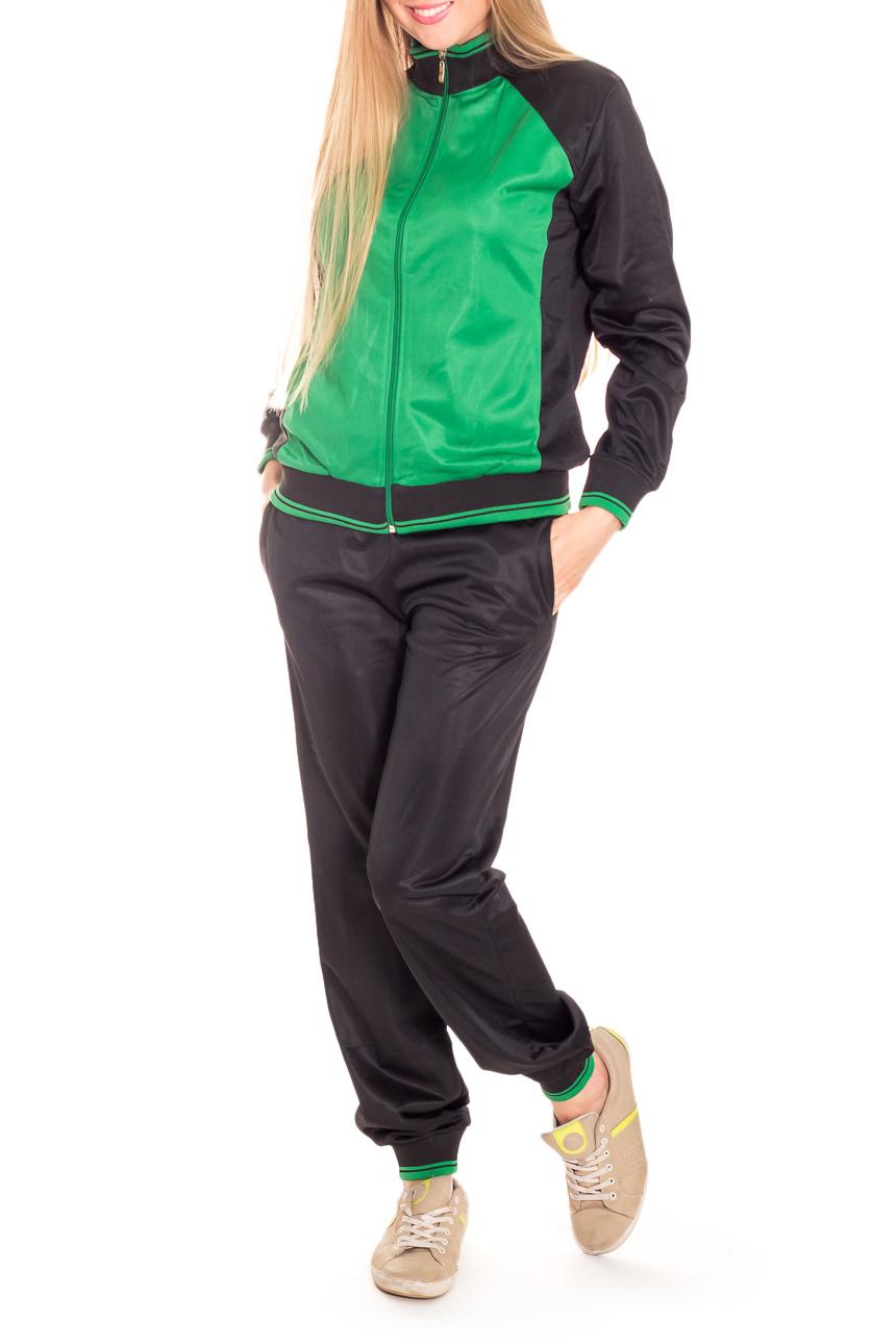 КостюмСпортивные костюмы<br>Женский спортивный костюм из непродуваемой ткани. Отличный выбор для занятий спортом или активного отдыха.  Цвет: черный, зеленый  Рост девушки-фотомодели 170 см.<br><br>Воротник: Стойка<br>Застежка: С молнией<br>По длине: Макси<br>По материалу: Трикотаж<br>По образу: Спорт<br>По рисунку: Цветные<br>По сезону: Весна,Зима,Лето,Осень,Всесезон<br>По силуэту: Полуприталенные<br>По стилю: Повседневный стиль<br>По элементам: С манжетами<br>Рукав: Длинный рукав<br>Размер : 48<br>Материал: Полиэстер<br>Количество в наличии: 1